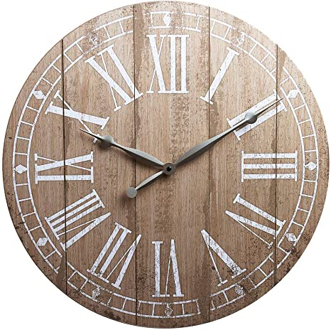 Amazon Com 20 Rustic Light Natural Wood Plank Frameless Farmhouse Wall Clock Home Kitchen