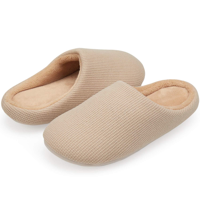 VIFUUR Women's House Slipper Cozy Memory Foam Home Slipper Slip-on Clog Indoor Shoes Tan EU38/39