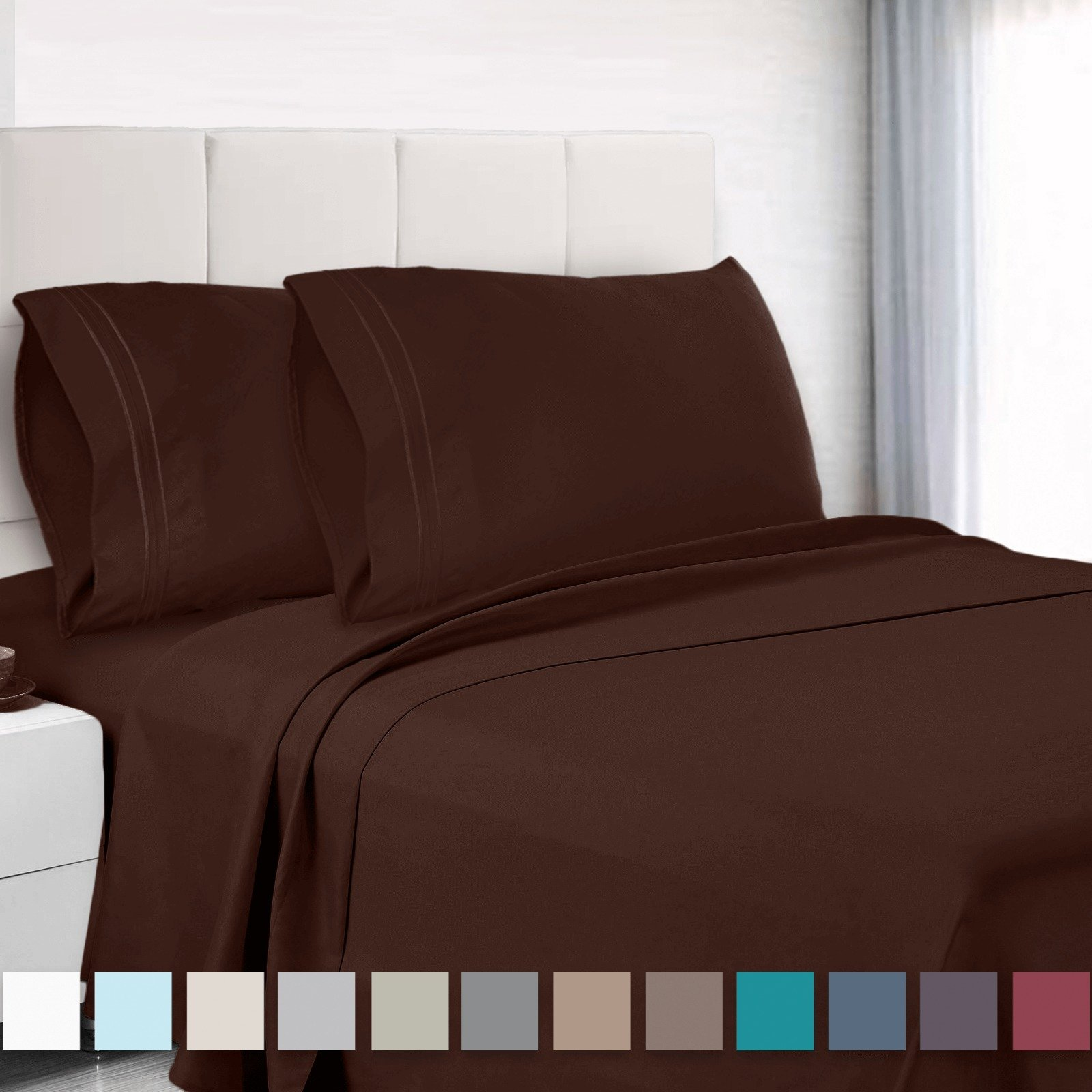 Premium Cal King Sheets Set - Dark Brown Chocolate Hotel Luxury 4-Piece Bed Set, Deep Pocket Special Super Fit Fitted Sheet, Best Quality Microfiber Linen Soft & Durable Design + Better Sleep Guide