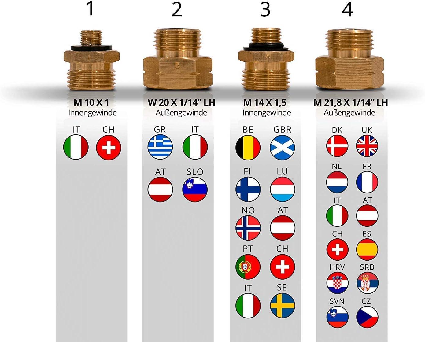 PELMOS Adaptador de Transferencia para Botellas de Gas – Set de 4 Piezas de Conexión de Gas para Europa – Boquilla Conector para Válvulas Reguladores ...