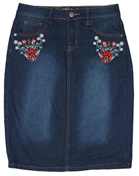805db50b5 No Fuze Women's Stretch Embroidered, Knee Length Denim Skirt 23