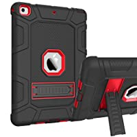 iPad Case 2018 9.7 inch iPad Case 2017 9.7 inch Stand GUAGUA Shockproof Heavy Duty Three Layer High Impact Full-Body Rugged Bumper Protective Tablet Case for iPad 6th Generation iPad 9.7 2018/iPad 5th Generation iPad 9.7 2017,Black/Red