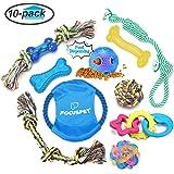 Focuspet 犬 猫 ペットおもちゃ 丈夫な犬噛む ロープのおもちゃ 10点のセット ぬいぐるみ 訓練ロープ 歯ぎしり 運動不足 ストレス解消