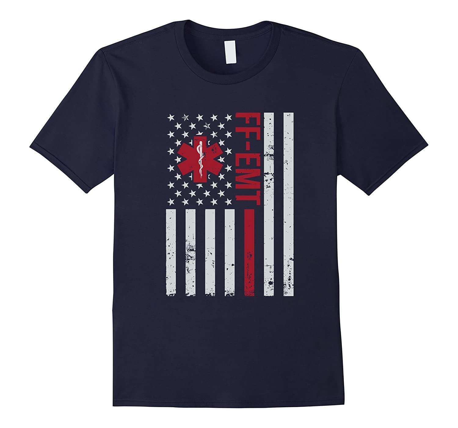 FF-EMT Firefighter Emergency Medical Tech USA Flag T-Shirt-T-Shirt