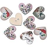 HOUSWEETY 50PCs Wooden Buttons Heart Shaped Flower Bird 2-hole Sewing Scrapbook DIY