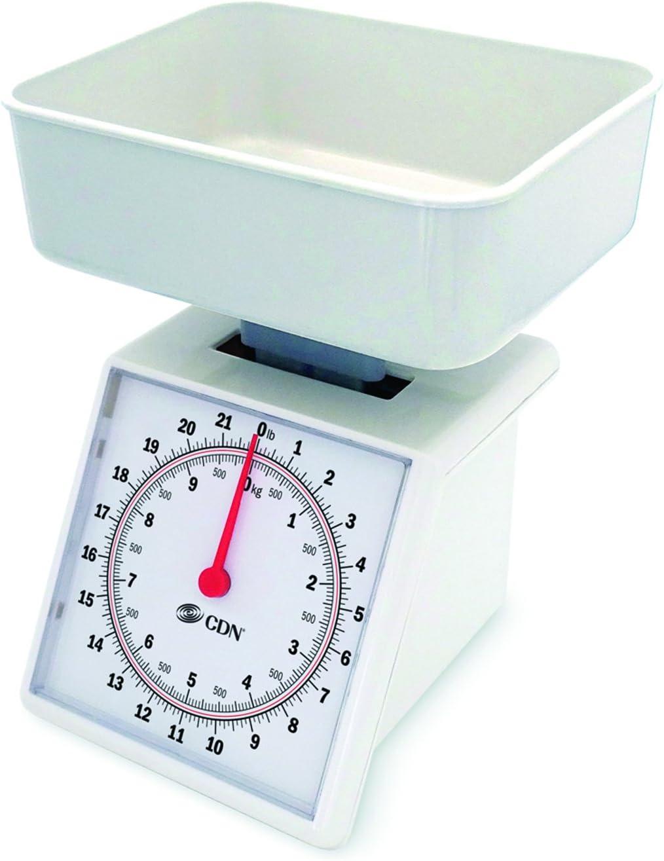 CDN SM2201 Mechanical Kitchen Food Scale, 22 Lb, White