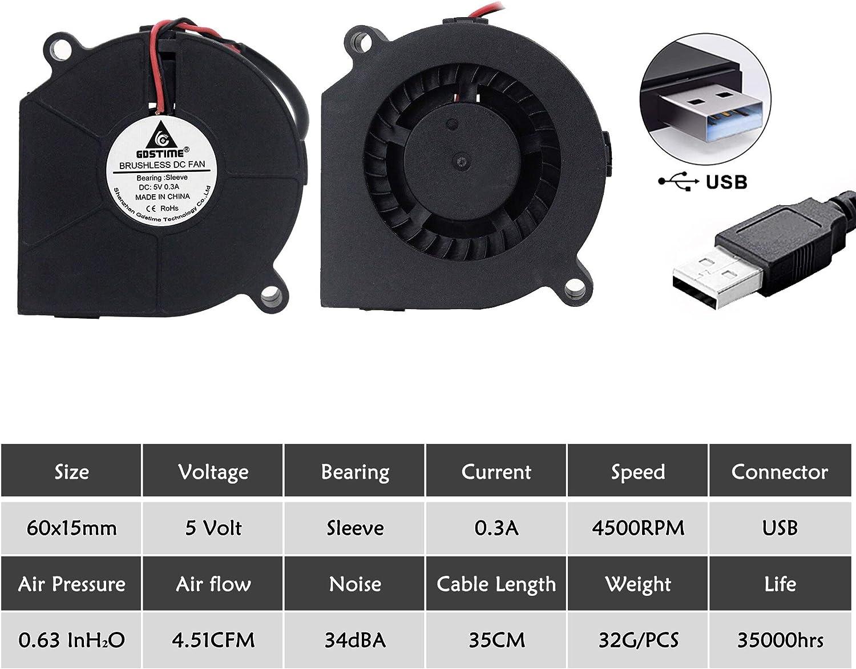 5pcs//lot Gdstime DC 6015S 5V USB 60MM x 15MM Turbine Brushless Cooling Blower Fan Fans