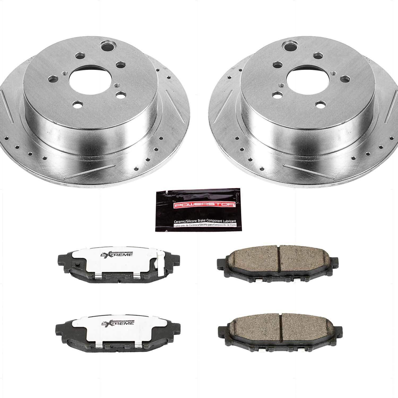 For 2012-2014 Subaru Impreza Rear Drill Slot Brake Rotors Ceramic Brake Pads