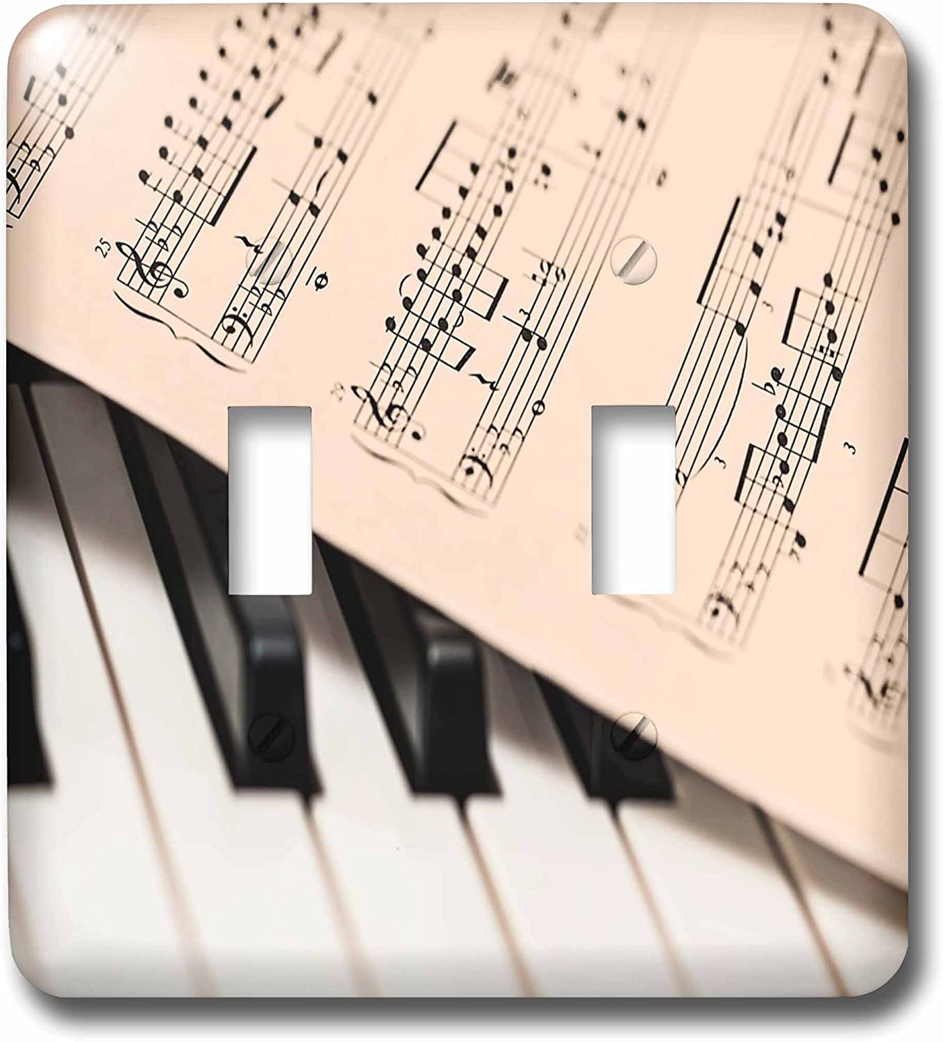 3drose Lsp 255452 2 Double Toggle Switch Image Of Closeup Of Piano And Music Sheet Amazon Com