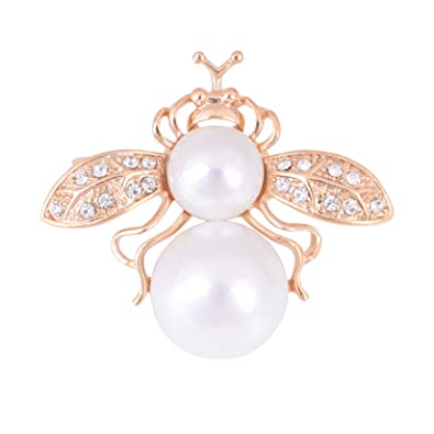 86cfbaa1c62 Image Unavailable. Image not available for. Color  OBONNIE Crystal Double  Pearls Bumble Honey Bee Insect Brooch Pins Collar Pin Lapel ...