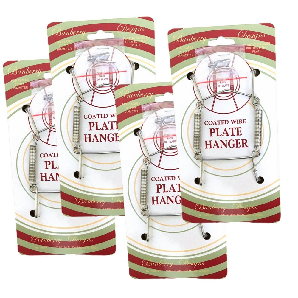 BANBERRY DESIGNS Chrome Vinyl Coated Plate Hanger 3 to 5 Inch Plate Hanger Set of 4 Hangers - Includes Hanging Hook and Nail 1306-3C