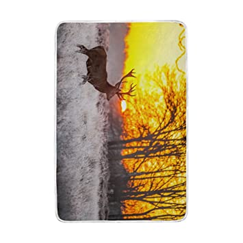 Home Decor Sunset Wildlife Deer Blankets And Throws Polyester Fabric 60 X  90 Inch For Adult