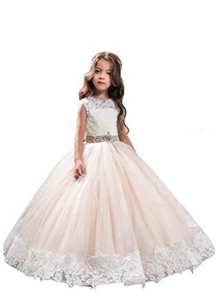 58d720f9460 Amazon.com: Ivory Long Lace Flower Girl Dresses, Champagne Less ...