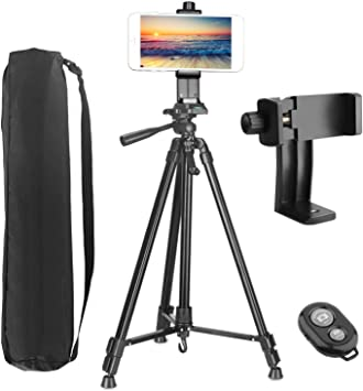 4-10.5 PEMOTech 50 Tripod Thicker Legs for Tablet Phone Camera+Phone and Tablet Holder +Remote Control+Bag Compatible for iPad 9.7//Air//Mini Samsung Tab//S9//Note 9 iPhone XR//XS MAX//X//8//7//6//Plus
