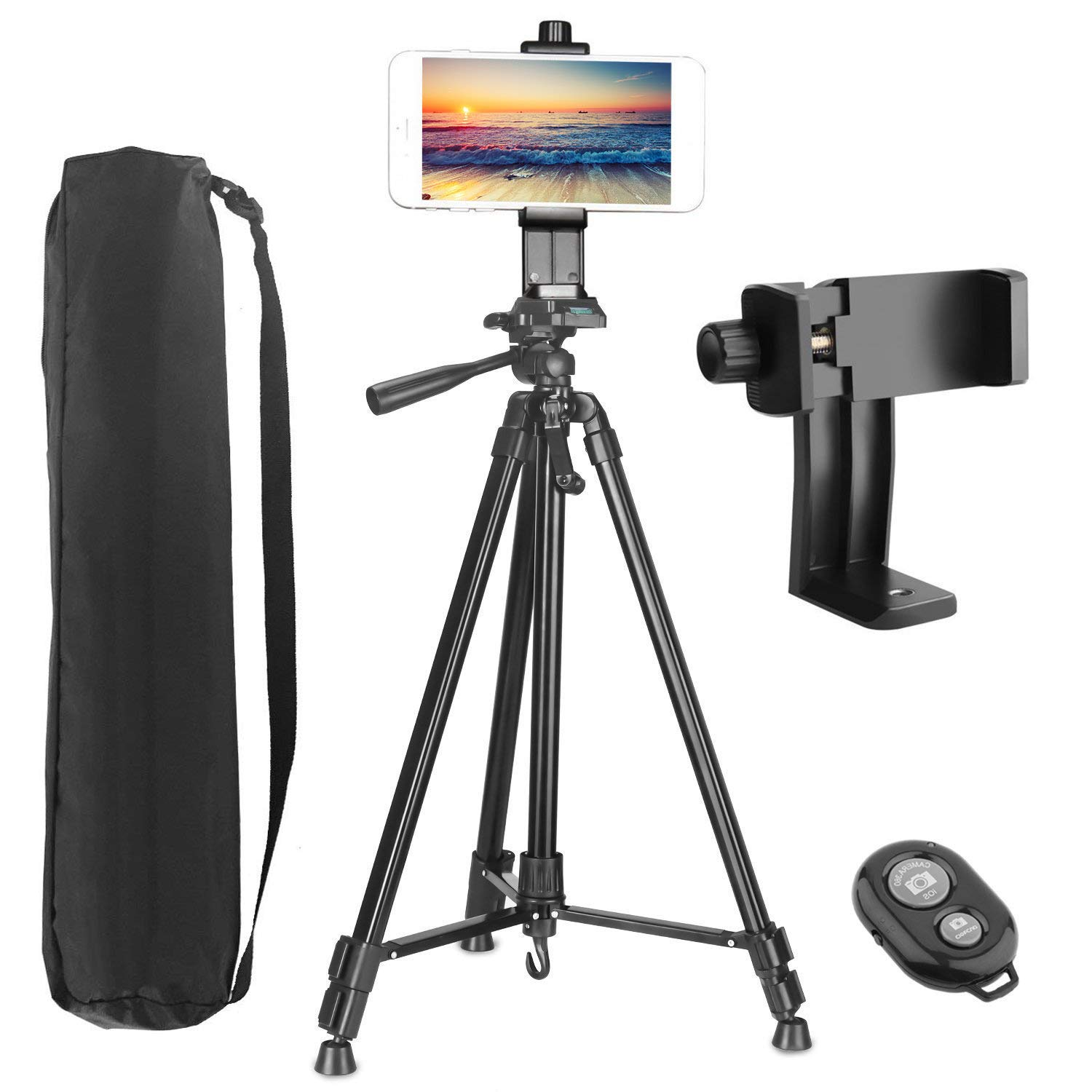 Phone Tripod, PEYOU Upgraded 62'' Aluminum Camera Tripod + 360° Rotation Smartphone Holder Mount + Bluetooth Remote Compatible for iPhone Xs Max XR X 8 7 6 6S Plus,for Galaxy Note 9 8 S10 S9 S8 Plus by Peyou