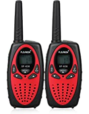 FLOUREON Kids Walkie Talkies, 2-Way Radio Toys with 8 Channels, Long Range Interphone for Home, Supermarkets, Festival and Activities Communication (Red)