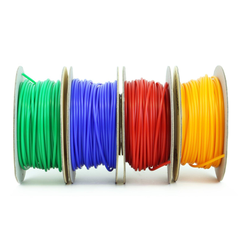 Gizmo Dorks ABS Filament for 3D Printers 3mm Green Red Orange Blue 4 Color Pack 2.85mm 200g