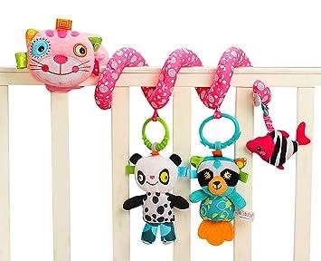 Jollybaby - Juguetes Colgantes Espiral de Animales para Cuna Cochecito Carrito bebés Recien nacidos Peluche con Mordedor para niños niñas arrastrar - Rosa ...