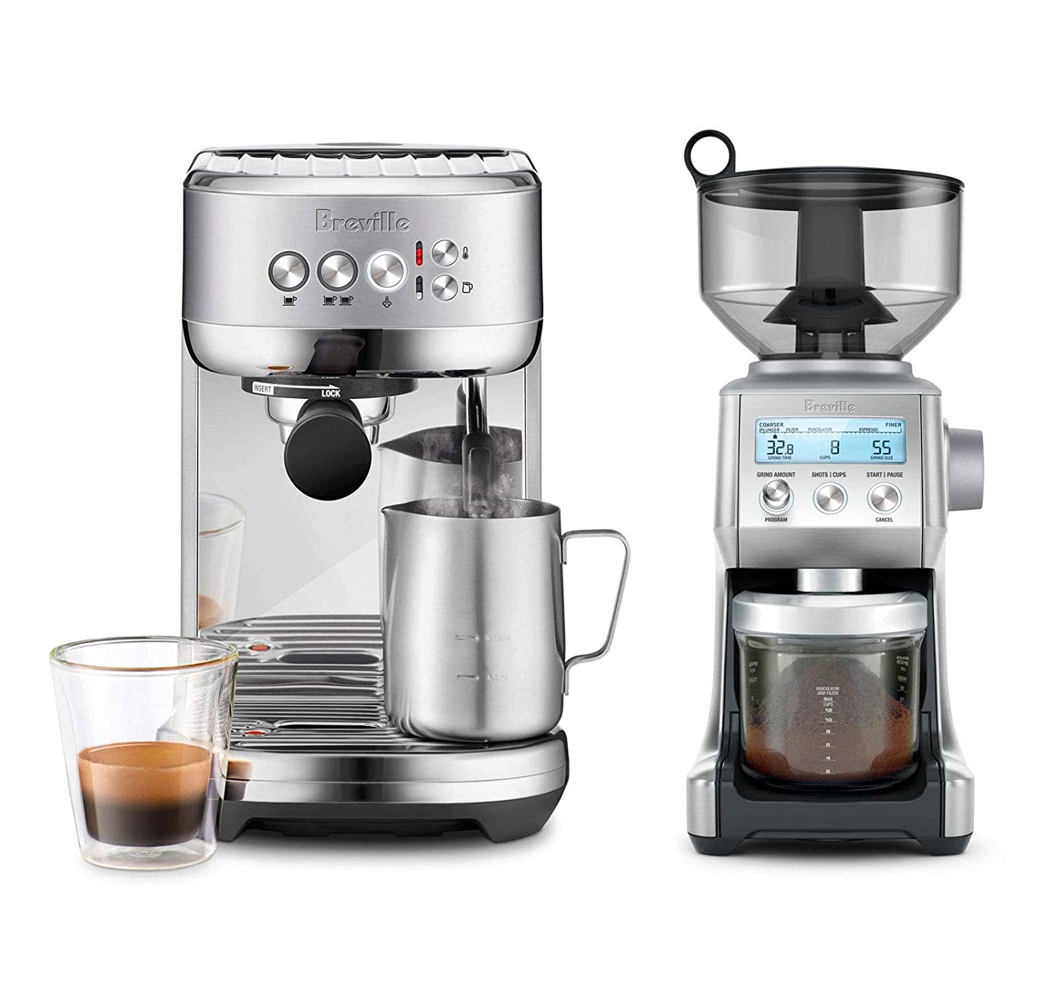 Breville BES500BSS The Bambino Plus Espresso Machine Bundle with Breville BCG820BSS Smart Grinder Pro - Stainless Steel