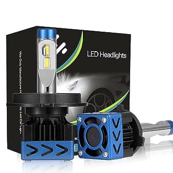 Kit de LED H4 9003 HB2 Nuevo Kit de conversión de bombillas de faroTurboCool Disipador de disipación de disipador de refrigeración del ventilador 50W ...