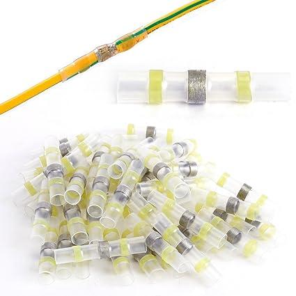 50 terminales de punta para soldadura termorretráctil, mangas para cable eléctrico