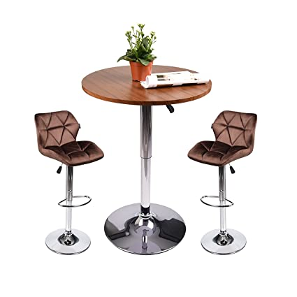 078ccd5a466 Image Unavailable. Image not available for. Color  Elecwish Pub Table Set - Adjustable  Bar Tabla and Two Bar Stools for Modern Kitchen Home