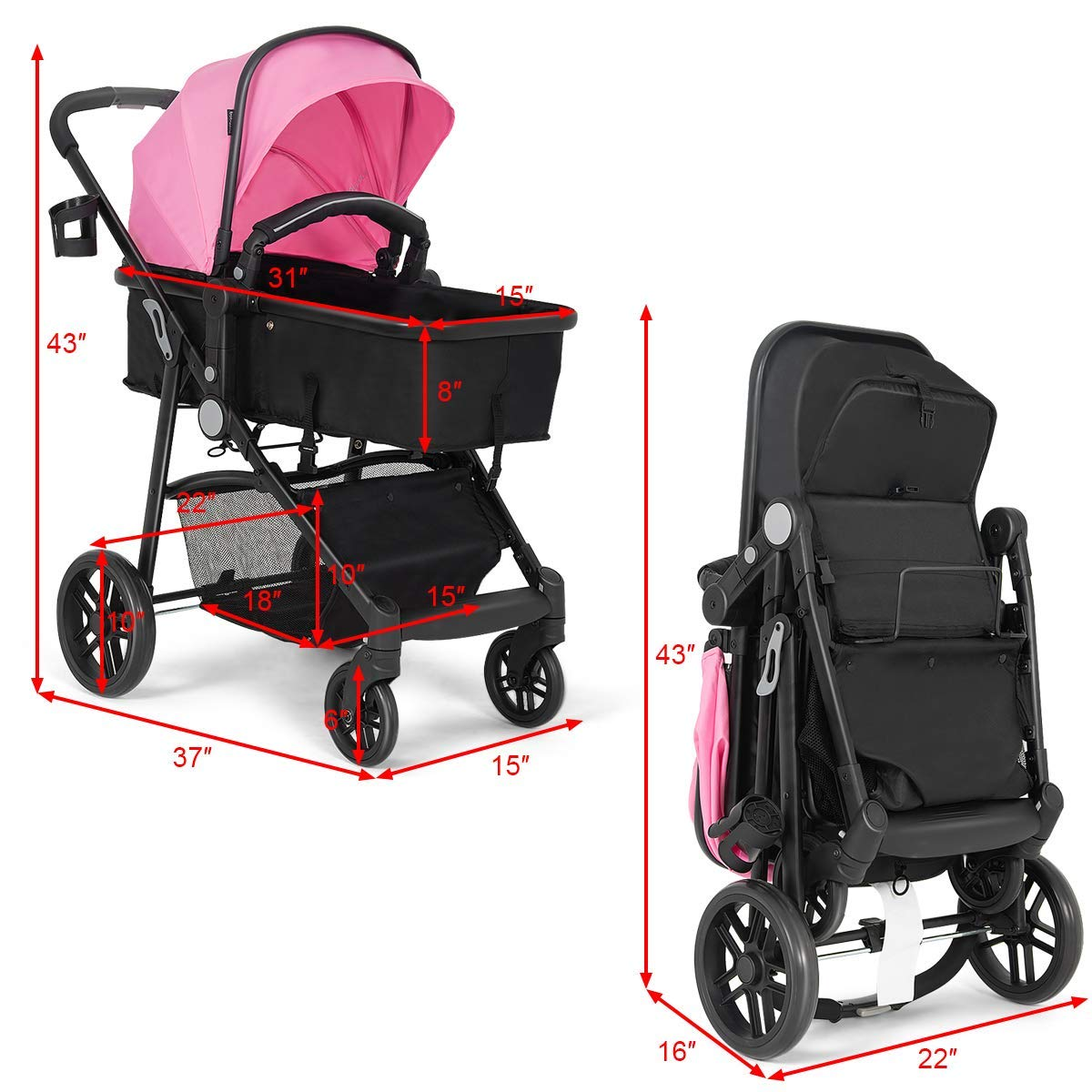 Costzon Baby Stroller, 2 in 1 Convertible Carriage Bassinet to Stroller, Pushchair with Foot Cover, Cup Holder, Large Storage Space, Wheels Suspension, 5-Point Harness (Pink Color) by Costzon (Image #5)