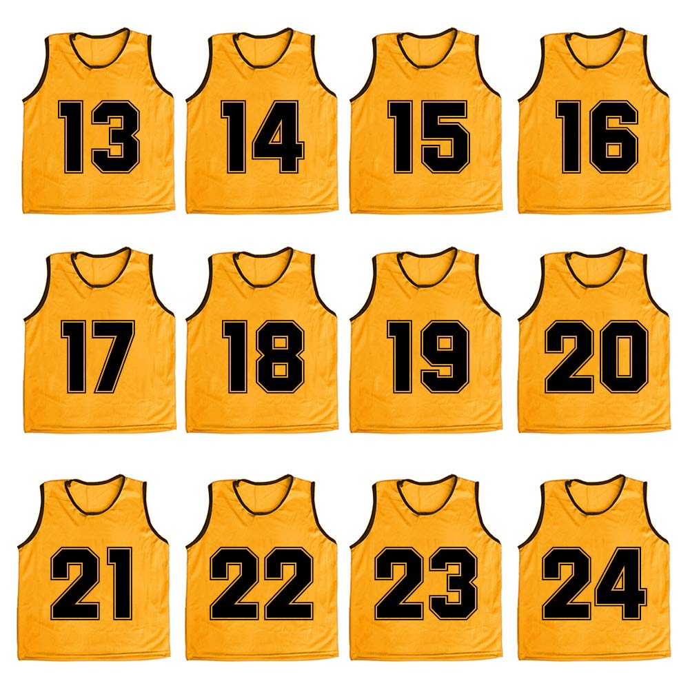 TOPTIE Numbered/Blank Scrimmage Team Practice Mesh Jerseys Vests Pinnies (12-Pack)-Yellow (#13 to 24)-Child by TOPTIE