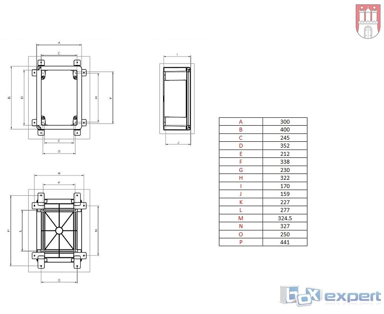 BOXEXPERT Bo/îtier mural 300x400x170mm IP 65 gris RAL7035 Bo/îtier de distribution darmoire /électrique