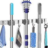 Broom Holder Organizers and Storage Stainless Steel Mop Holder Wall Mounted Garden Tool Heavy Duty Rack Hooks for Garage,Home,Kitchen,Bathroom,Closet and Shed (3 Racks 4 Hooks)