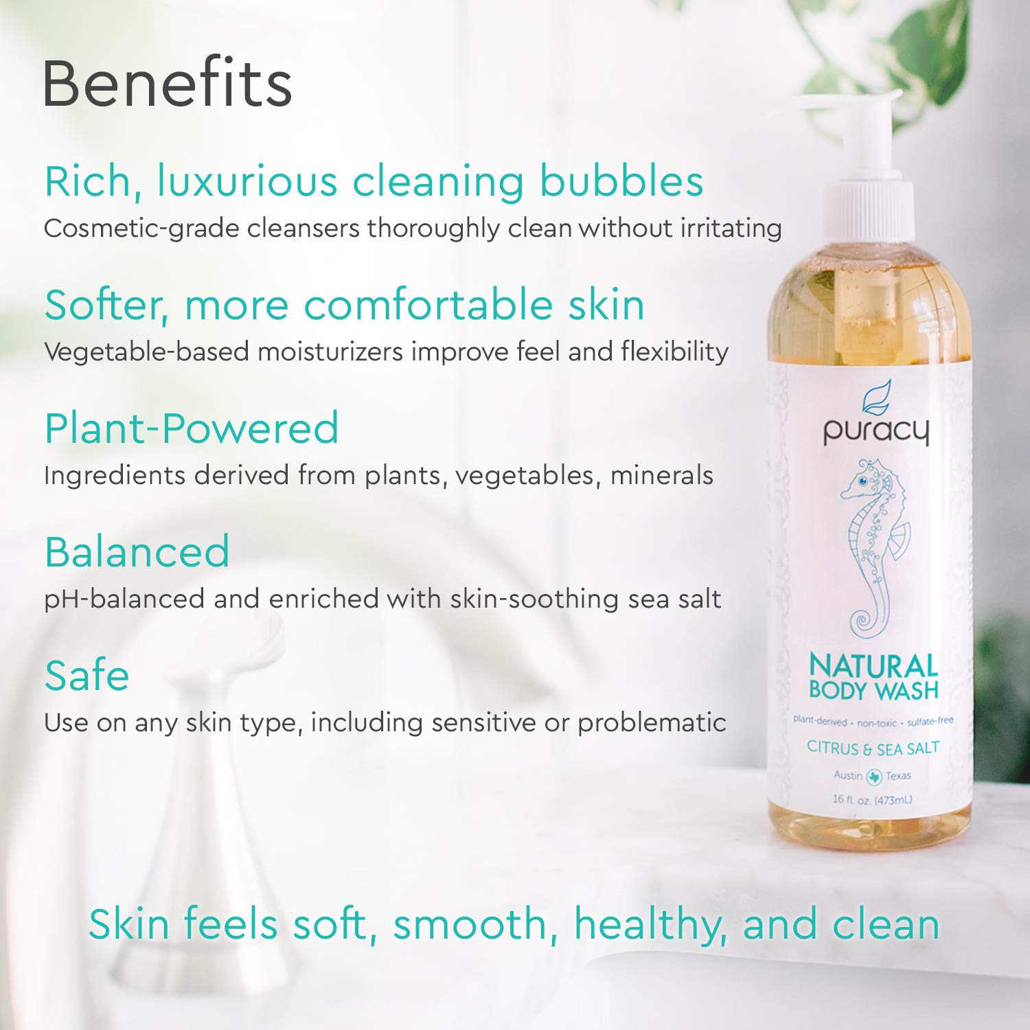 Puracy Natural Body Wash Refill, Sulfate-Free Shower Gel Daily Cleanser, Citrus & Sea Salt, 64 Ounce by Puracy (Image #2)