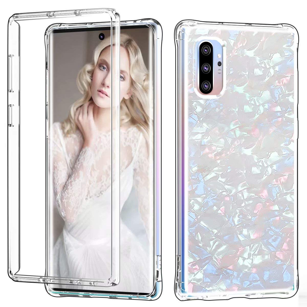 Galaxy Note 10 Plus Case, Ranyi Full Body Protective Crystal Transparent Cover Hybrid Bumper [Supported Wireless Charging] Flexible Resilient TPU Case for Samsung Galaxy Note 10+ Plus (White) by Ranyi