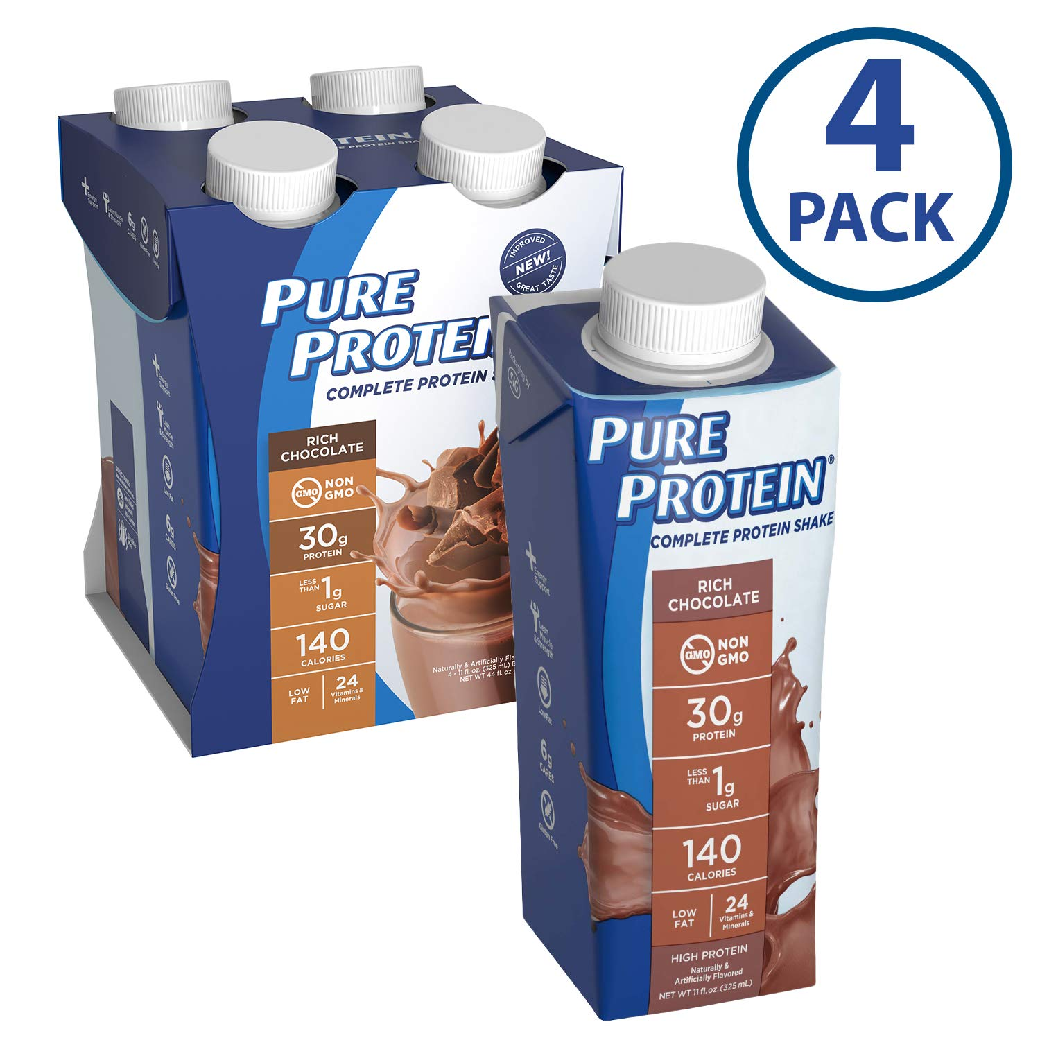 Pure Protein Complete Ready to Drink Shakes, High Protein Rich Chocolate, 11oz, 4 Count by Pure Protein