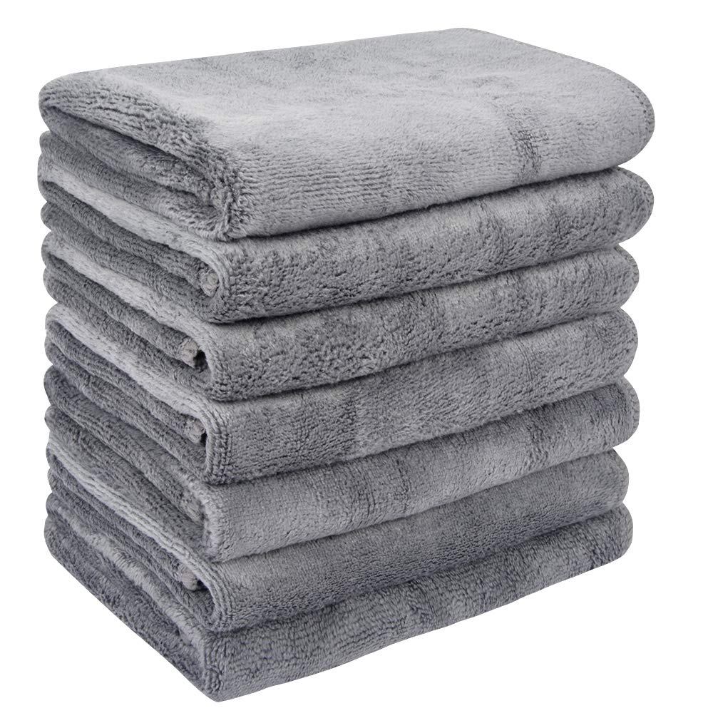 VIVOTE Microfiber Makeup Remover Cloths Soft Face Cloths Facial Cleaning Washcloths 7 Pack 12x12 Inch Grey