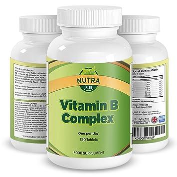 Compuesto de Vitamina B, Suplemento de Alta Potencia, Contiene Todas las 8 Vitaminas B, B1, B2, B3, B5, B6, B12, D Biotina y Ácido Fólico, Suministro ...