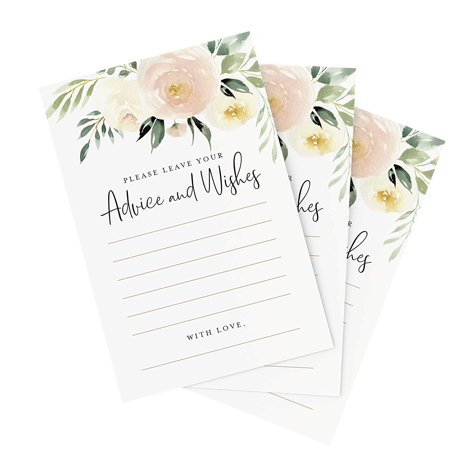 Perfect for: Bridal Shower Pack of 50 Baby Shower Graduation Bliss Paper Boutique Blush Floral Advice and Wishes Cards for The Bride and Groom Wedding 4x6 Cards