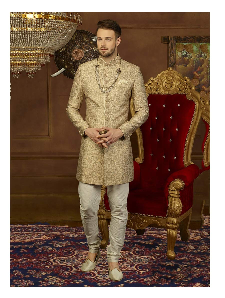 Indian Royal Designer Embroidered Jacquard Brocade Silk & Art Banarasi Silk Wedding Wear Sherwani for Men (10829) (40, Beige)