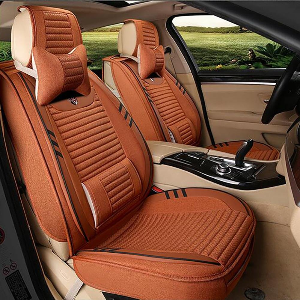 Auto Accessories The New Car Seat Cushion Leather Seat Cover Four Seasons General Ice Surrounded by Five Family Car Seat, orange