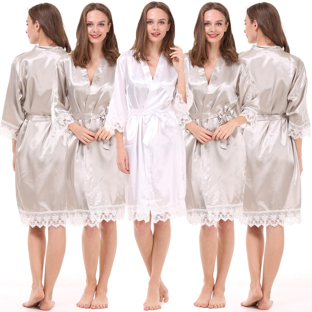1f6c9e975fc9 Set of 5 Women s Satin Robes for Bride and Bridesmaid with Lace Trim at  Amazon Women s Clothing store