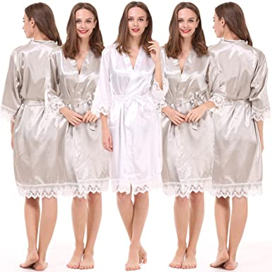 86d7a44e0842 Image Unavailable. Image not available for. Color  Set of 5 Women s Satin  Robes for Bride and Bridesmaid ...