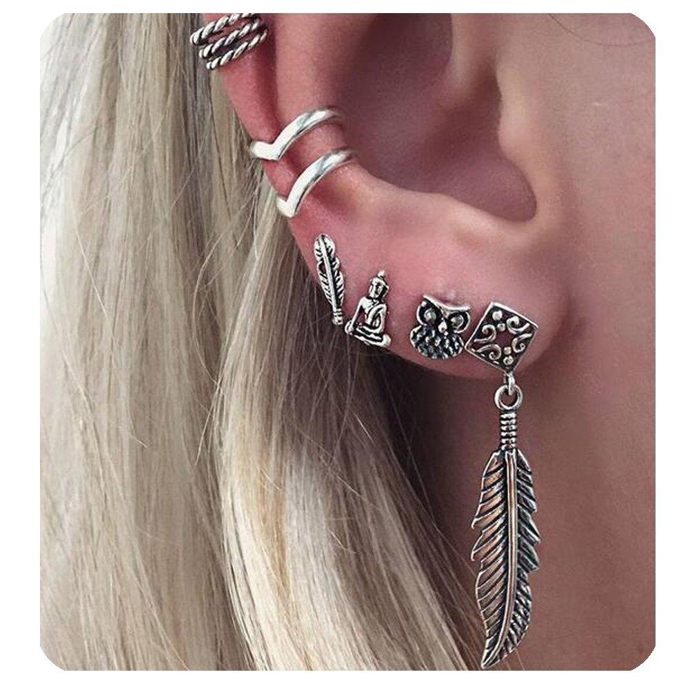 Zealmer Cuff Earrings Set Vintage Punk Stud Earrings Carved Piercing Non Piercing Ear Cuff Fatima Moon Sun Owl Leaf ERP-376-8