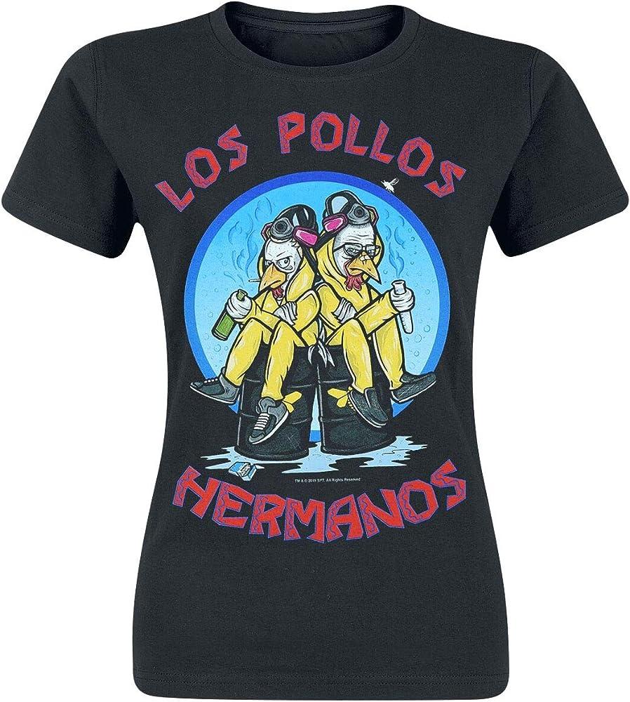 Breaking Bad Los Pollos Hermanos Mujer Camiseta Negro, Regular: Amazon.es: Ropa y accesorios