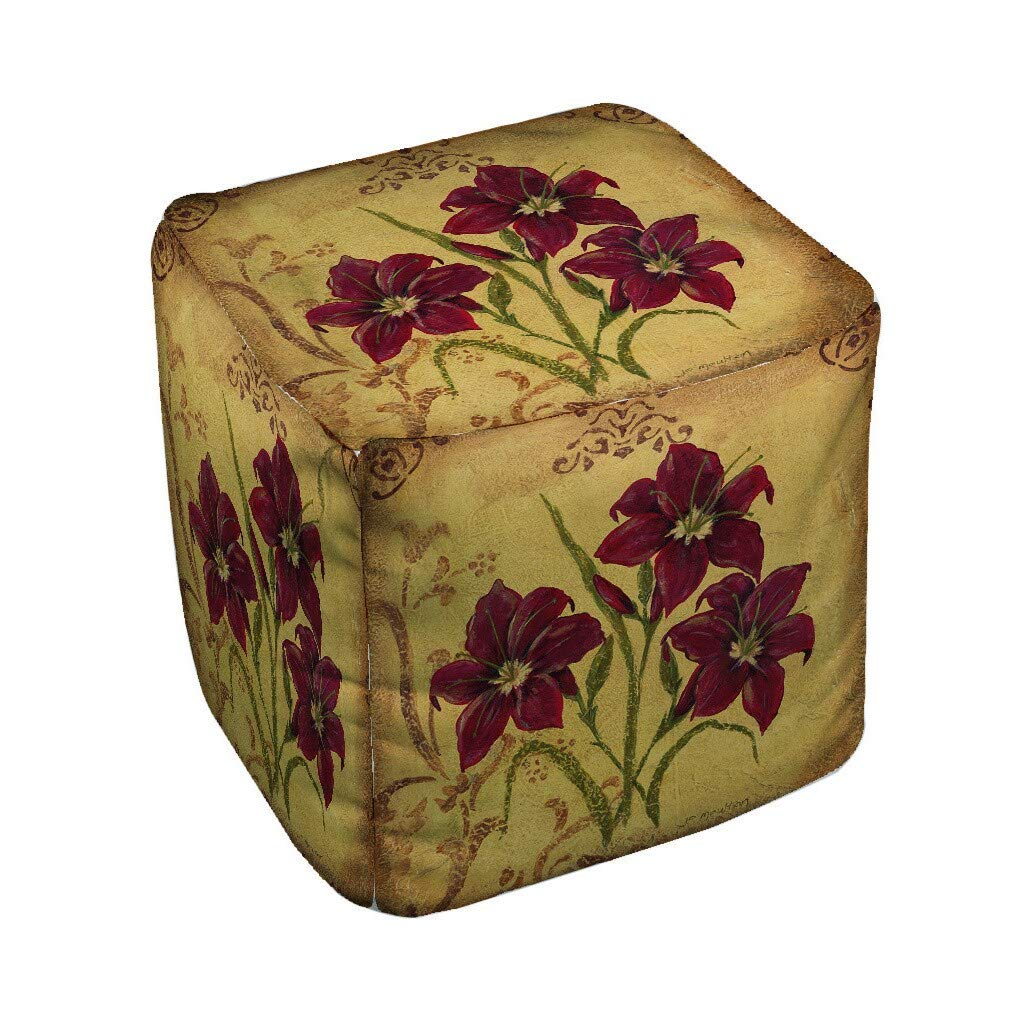Thumbprintz Crimson III Pouf Medium 18 x 18