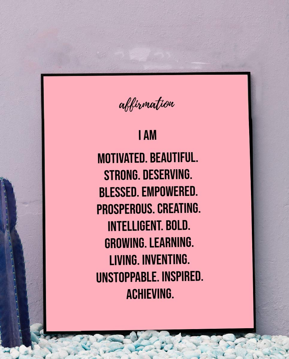 """Affirmations-I Am Motivated-Beautiful-Strong."" Inspirational Wall Print. 8 x 10"" Motivational Wall Art-Ready to Frame. Ideal for Home-Office-School Décor. Positive Self Talk For All Young Women!"