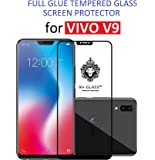 Dashmesh Shopping Youth(19:9) Full Glue/3D Shatterproof/No Rainbow & Dots Front Body Cover Tempered Glass Screen Protector for Vivo V9(Black)