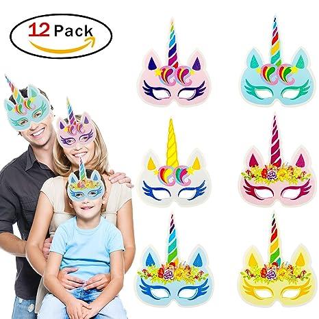 TrifyCore Máscara de Papel Arco Iris Unicornio Chico Regalo Fiesta de cumpleaños y Unicornio Fiesta 12