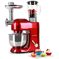 KLARSTEIN Lucia Rossa Food Processor Stand Mixer Mixing Machine 650 Watts 53 qt. Bowl 1.3 qt. Mixing Glass With Meat Mincer and Mixer Attachements Adjustable Speed