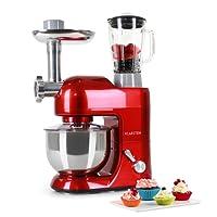 KLARSTEIN Lucia Rossa • Multifunction Stand Mixer • Kitchen Machine • 650 Watts • 5.3 qt Bowl • 1.3 qt Mixing Glass • Meat Grinder • Pasta Maker • Blender • Adjustable Speed • Red