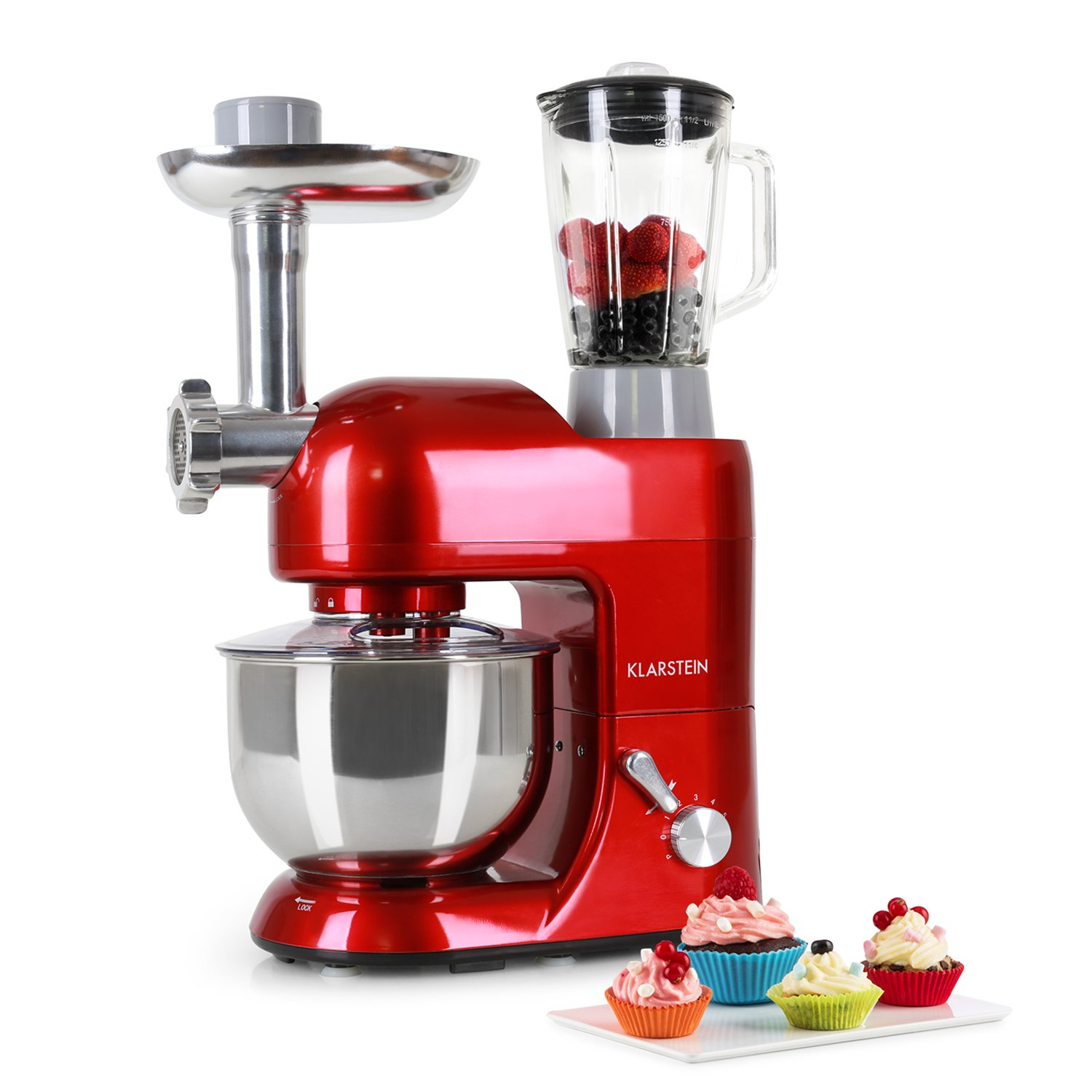 KLARSTEIN Lucia Rossa • Multifunction Stand Mixer • Kitchen Machine • 650 Watts • 5.3 qt Bowl • 1.3 qt Mixing Glass • Meat Grinder • Pasta Maker • Blender • Adjustable Speed • Red