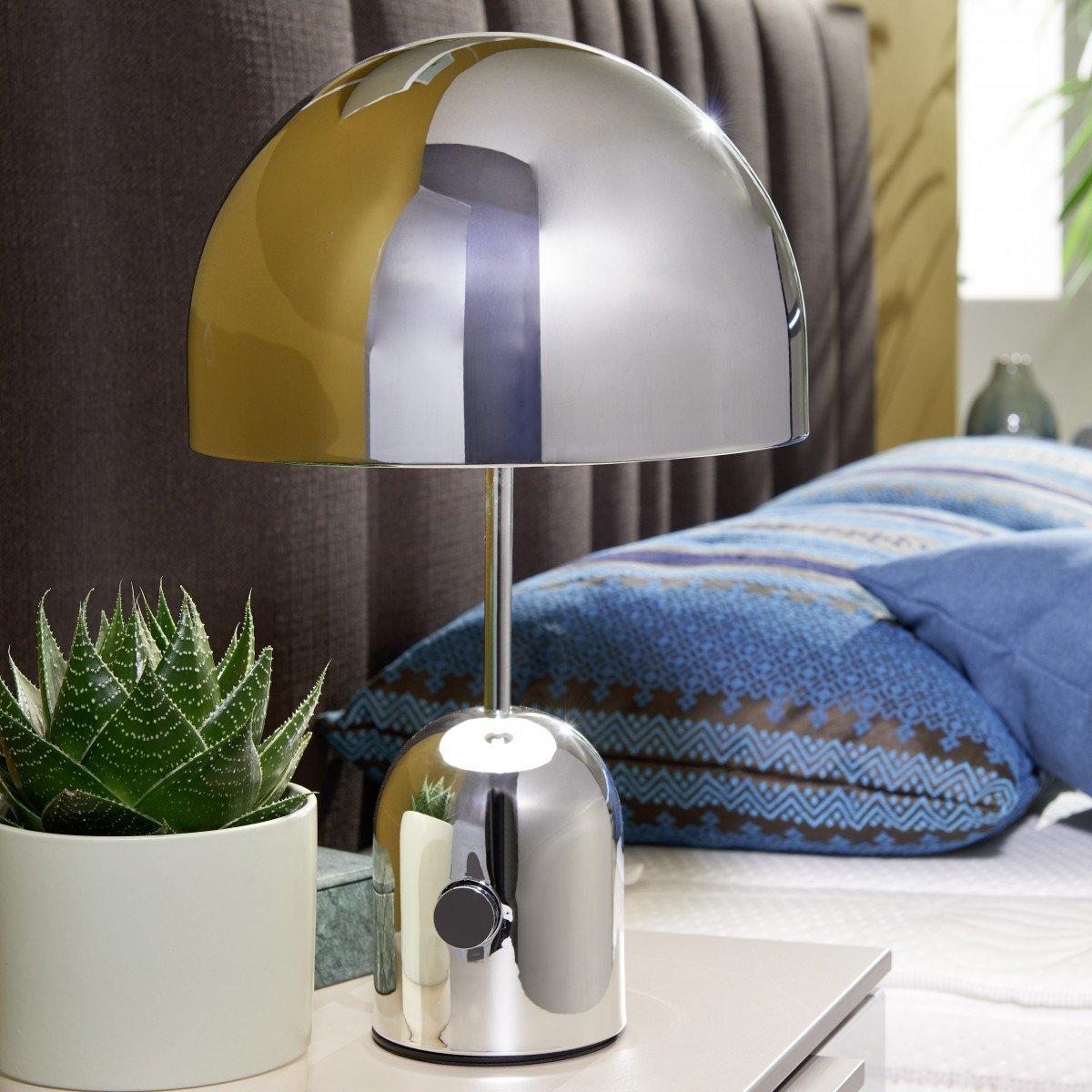 FineBuy Desing Tischleuchte ORIH Metallschirm-Lampe dimmbar Nachttischlampe Chrom  Metalllampe E27 bis 60W   Leselampe 1-flammig Ø 28 cm   Tischlampe hochglanz